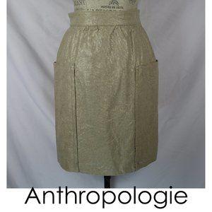 Anthro Cartonnier Linen Gold Casetta Skirt 6